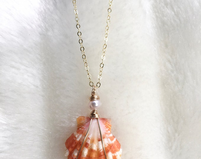 Bright Orange Sunrise Shell Necklace/14k Gold Filled/18""