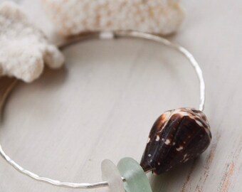 Seaglass x Hawaiian Cone Shell Bangle-Sterling Silver