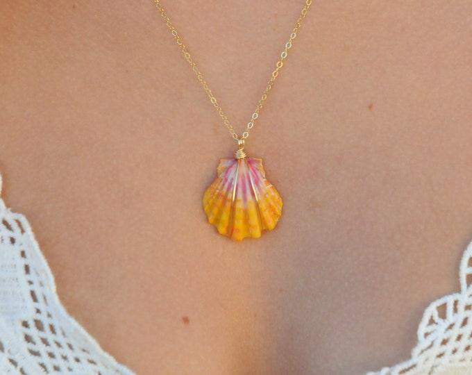 "Yellow-Orange and Magenta Sunrise Shell/14k Gold Filled/18"""