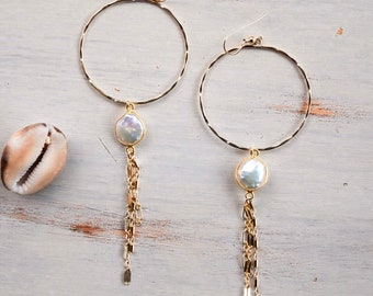 Coin Pearl Sparkle Hoops/14k Gold Filled