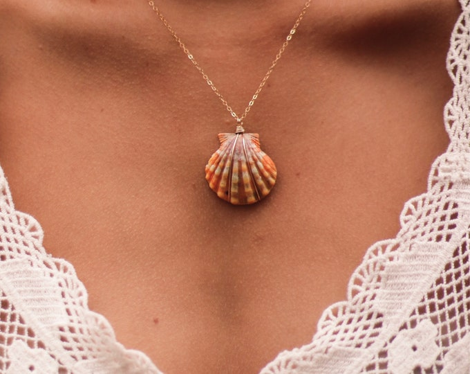 Unique Orange Sunrise Shell Necklace/14k Gold Filled/18""