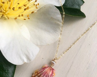 Multi Colored Sunrise Shell Necklace/14k Gold Filled/18""