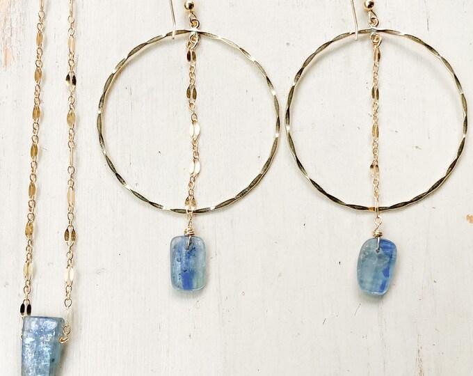 Blue Kyanite Gemstone Set/14k Gold Filled/ Earring & Necklace
