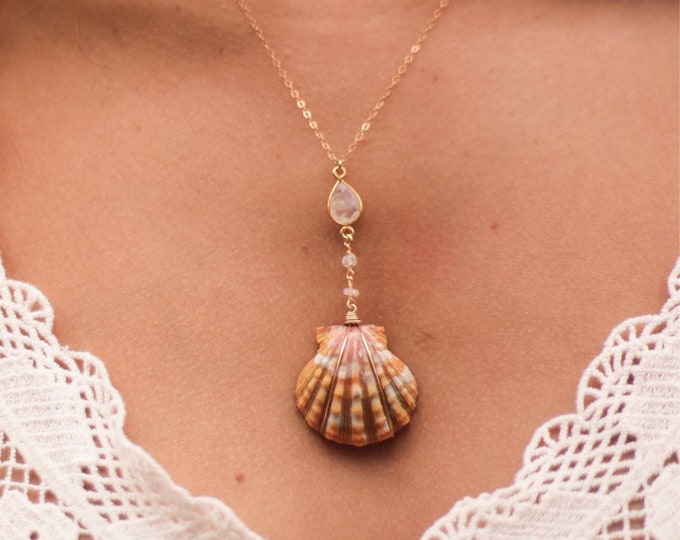 Moonstone Lariat Sunrise Shell Necklace/14k Gold Filled/18""