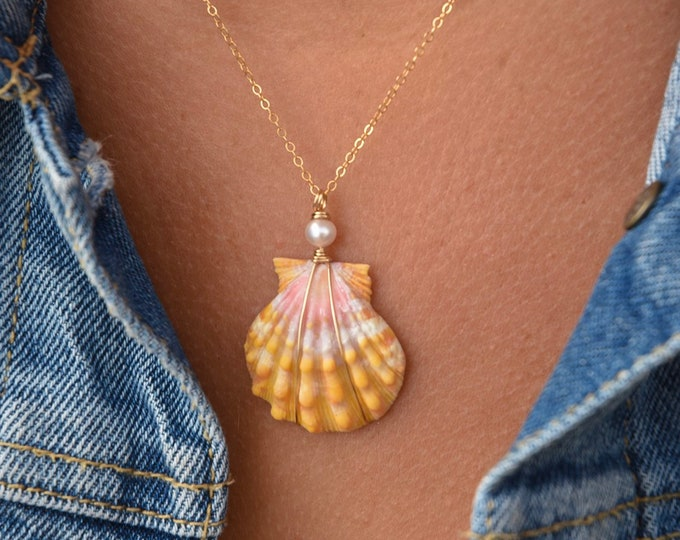 Yellow-Orange Sunrise Shell and Freshwater Pearl Necklace/14k Gold Filled