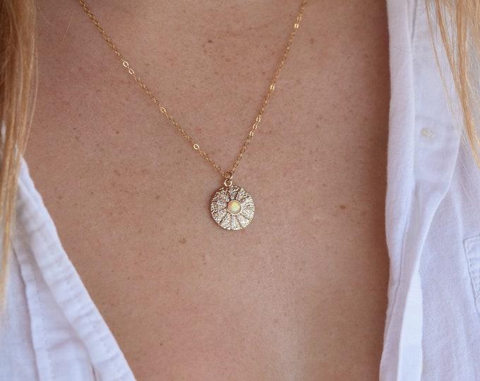 "Opal Shine Charm Necklace/18"""