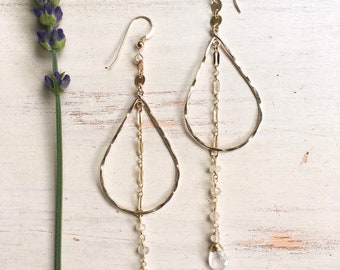 Teardrop Moonstone Dangle Earrings/14k Gold Filled