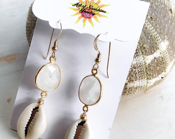 Cowrie x Moonstone Earrings/14k Gold Filled