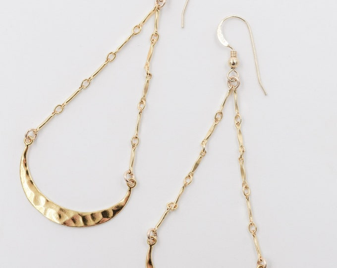 Hammered Crescent Earrings/14k Gold Filled