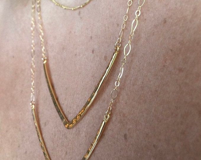 Chevron Hammered Gold Necklace/14k Gold Filled Chain