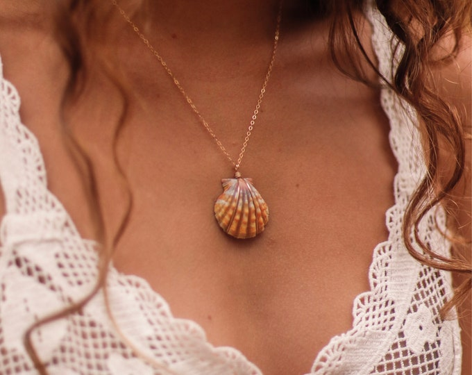 Orange and Lavender-Grey Sunrise Shell Necklace/14k Gold Filled/18""
