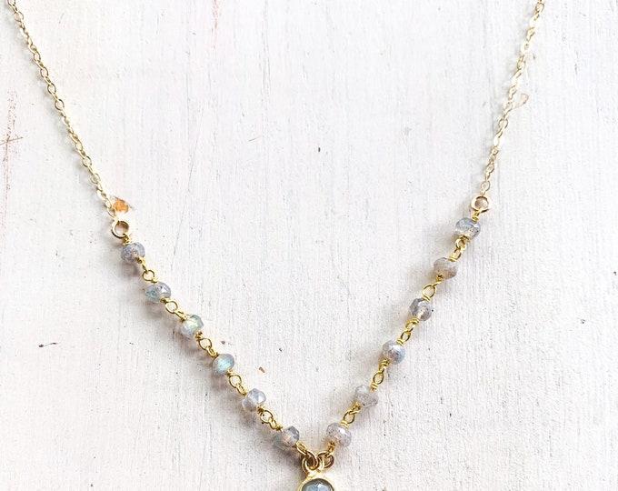 """Labradorite Rosary Necklace/15-17"""""""