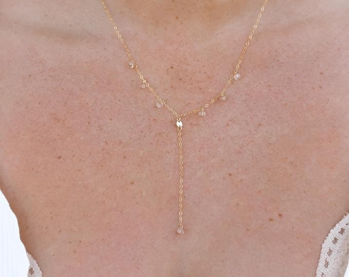 "Rose Quartz Gemstone Lariat/14k Gold Filled/17"""