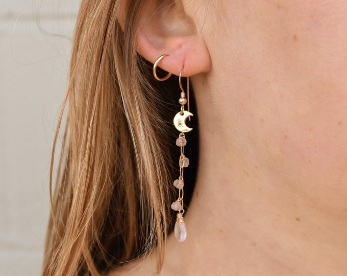 Rose Quartz Gemstone x Moon Dangles/14k Gold Filled