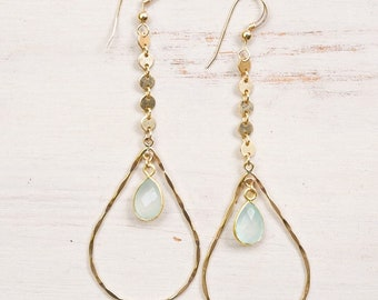 Seafoam Chalcedony Teardrop Hoops/14k Gold Filled