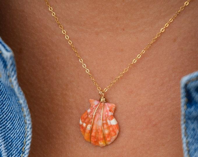 "Orange Sunrise Shell Necklace/14k Gold Filled/18"""