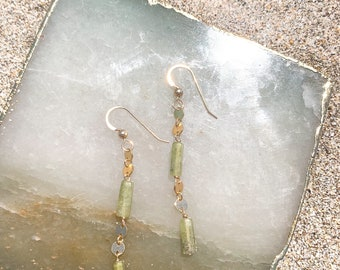 Vesuvianite Dangle Earrings/14k Gold Filled