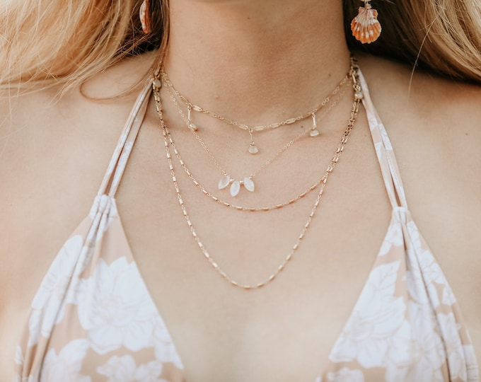 Moonstone Collection/ Moonstone Dangling Choker/15""