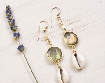 Labradorite x Cowrie Dangle Earrings/14k Gold Filled