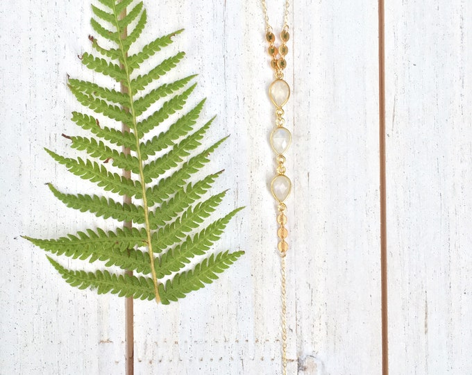 Triple Moonstone Lariat Necklace/14k Gold Filled