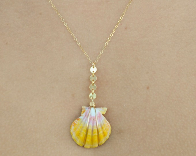 """Coin Drop Sunrise Shell/14k Gold Filled/18"""""""