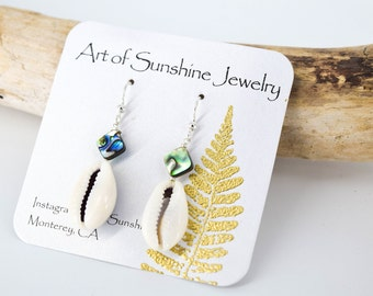 Sterling Silver/Abalone and Cowrie Earrings/Dainty and Simple
