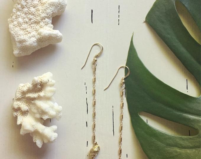 Tiny Shell Earrings /Bamboo Chain