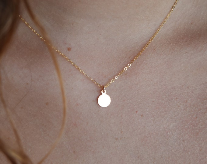 """Dainty Coin Necklace/14k Gold Filled/15"""""""