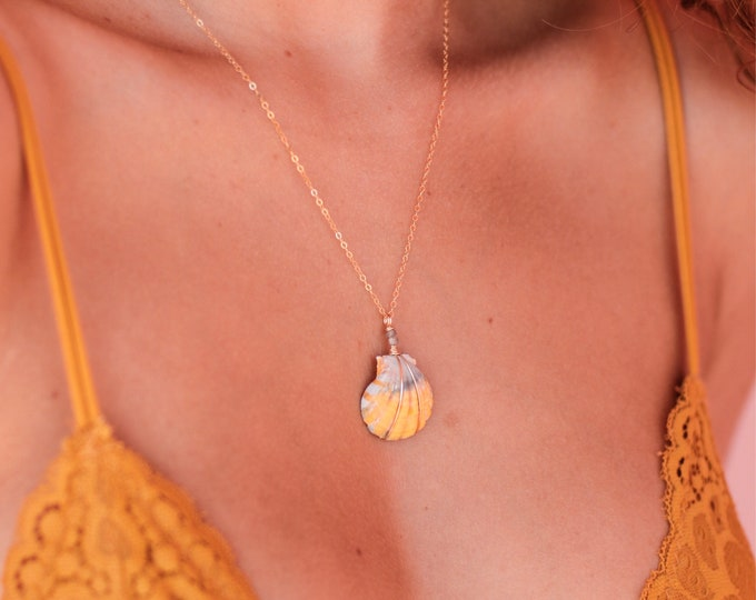 Grey and Yellow Sunrise Shell/14k Gold Filled/18""