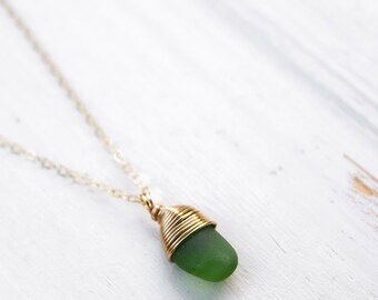 Green Tiny Seaglass Necklace/18""