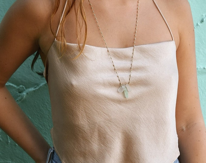 Stacked Seaglass Necklace/14k Gold Filled Bamboo Chain