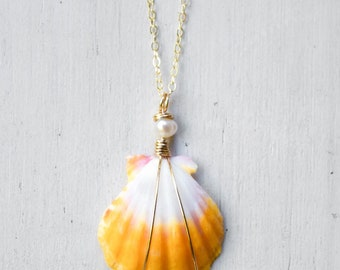 Bright Sunshine Yellow and White Sunrise Shell/14k Gold Filled/18""