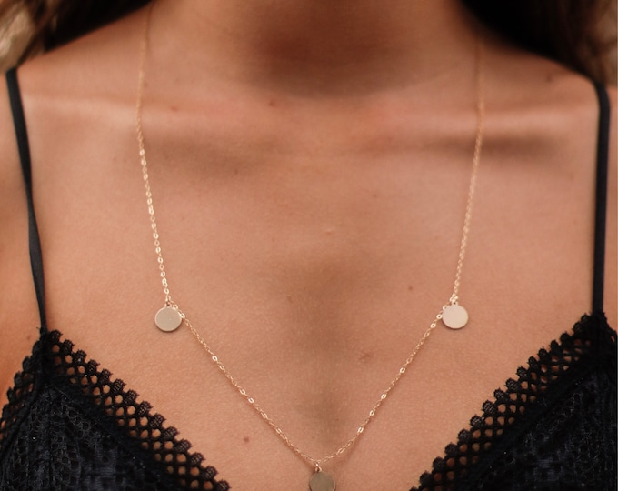 3's Coin Necklace/14k Gold Filled/24""