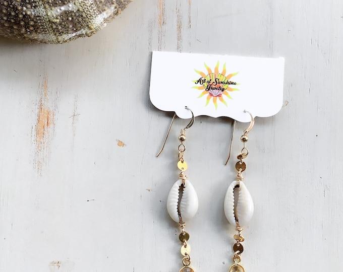 Cowrie x Citrine Gemstone Earrings/14k Gold Filled