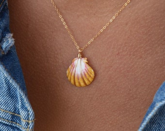 Yellow and Pink Traditional Sunrise Shell/14k Gold Filled