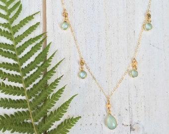 Sea Foam Chalcedony Gemstone Band Necklace