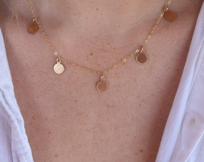 """5's Coin Necklace/14k Gold Filled/16"""""""
