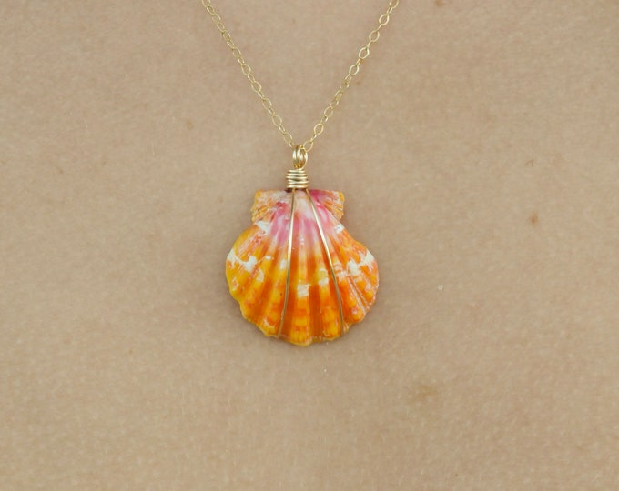 "Bright Orange and Pink Sunrise Shell/14k Gold Filled/18"""