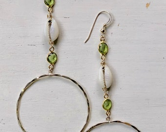 Peridot x Cowrie Hoop Earrings