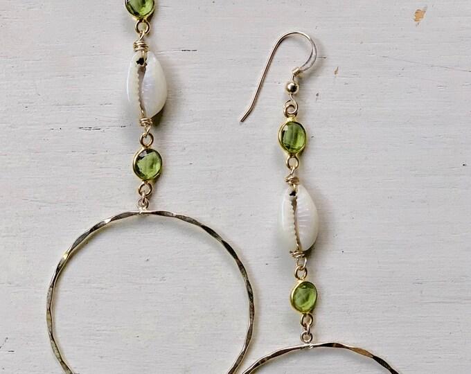 Peridot x Cowrie Hoop Earrings