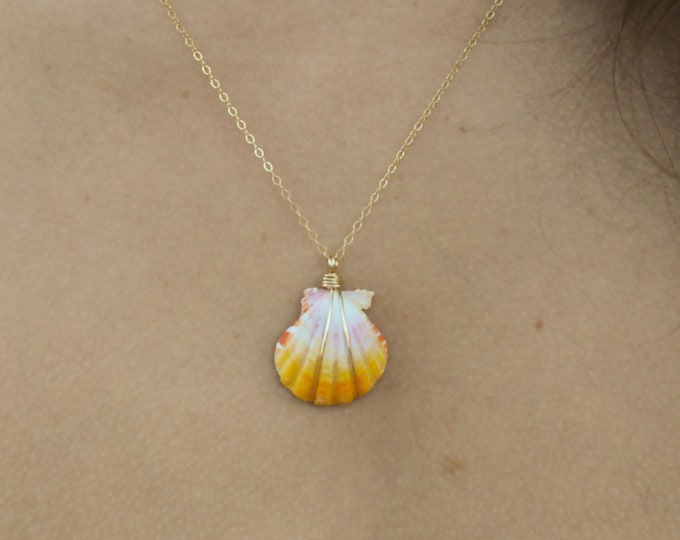 """Bright Yellow and White Sunrise Shell/14k Gold Filled/18"""""""