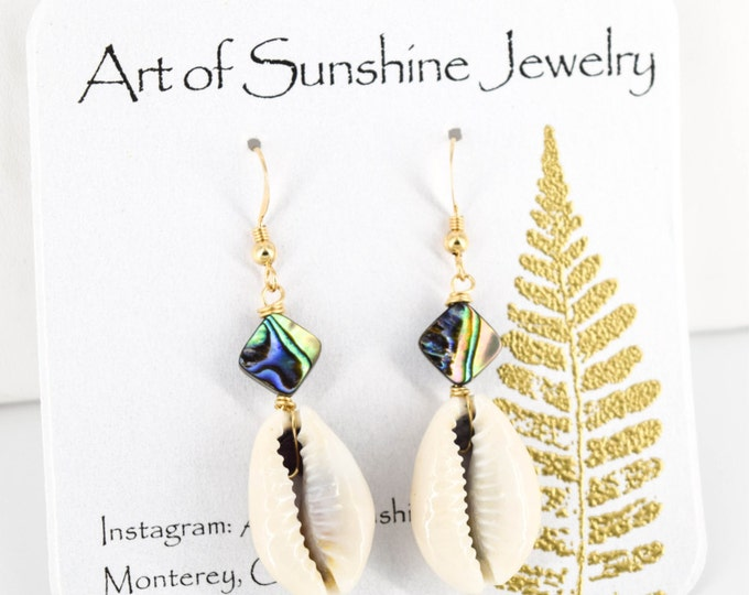 Cowrie and Abalone Earrings/14K Gold Filled