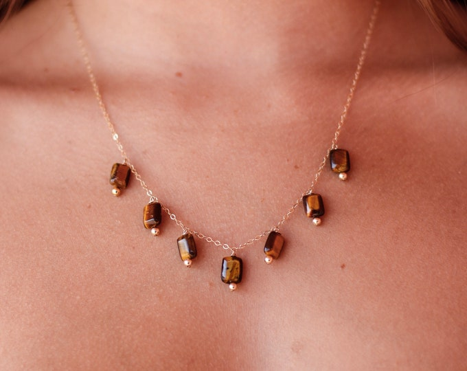 Tigers Eye Gemstone Necklace/14k Gold Filled/18""