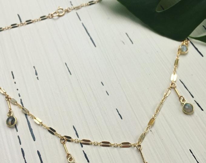 "Labradorite Collection/ Labradorite Stone Dangling Choker/15"""