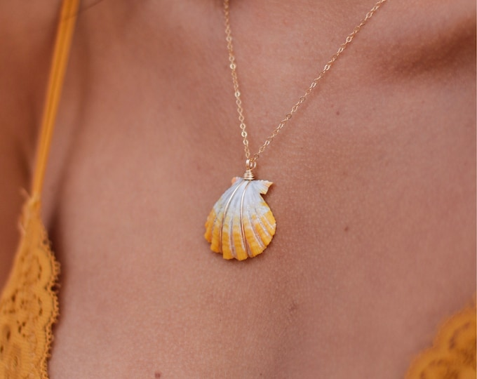 Yellow Sunrise Shell Necklace/14k Gold Filled/18""