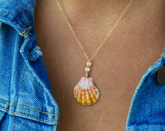 Multi Colored Yellow Sunrise Shell/14k Gold Filled