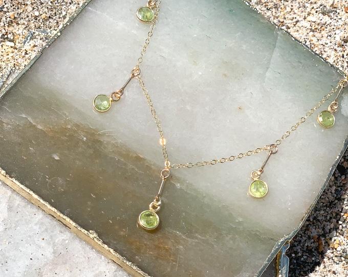 "Peridot Gemstone Bar Band /14k Gold Filled/17"""