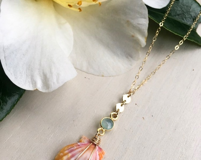 Sunrise Shell Lariat x Seafoam Chalcedony Gemstone/14k Gold Filled/18""