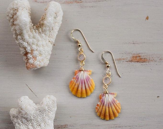 Sunrise Shell x Rose Quartz Gemstone Earrings