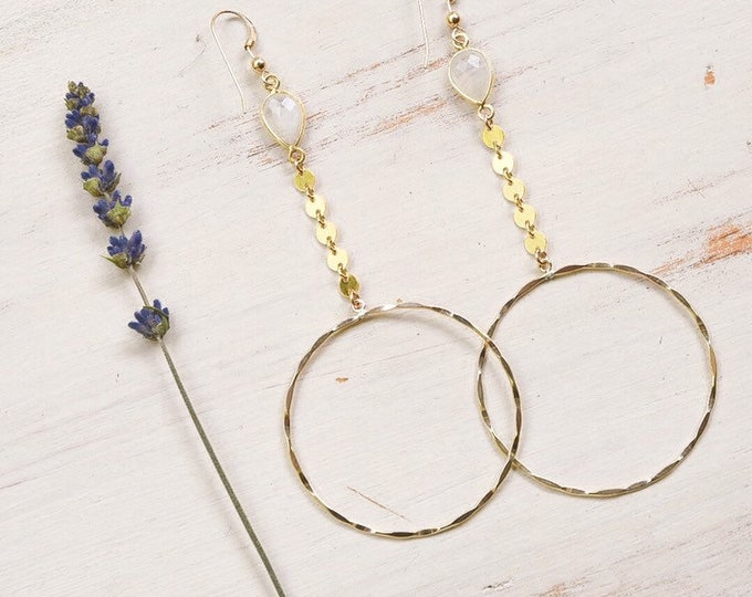 Moonstone Coin Hoops/14k Gold Filled